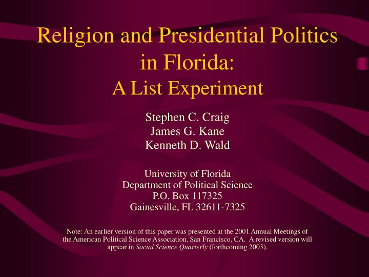religion and presidential politics in florida a list experiment n.