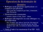 epuration du dictionnaire de donn es