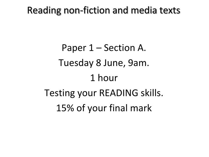 reading non fiction and media texts n.