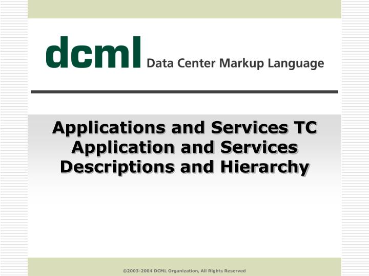 applications and services tc application and services descriptions and hierarchy n.