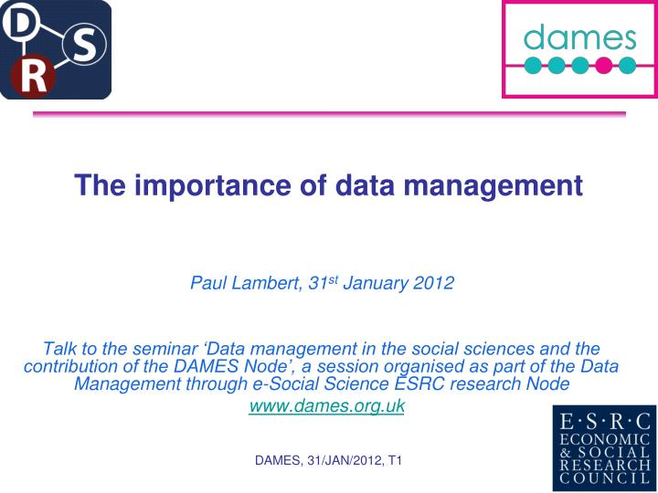 the importance of data management n.