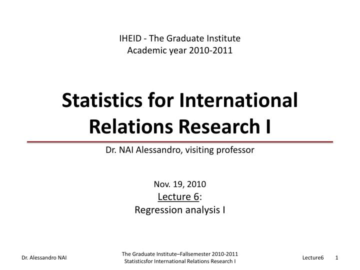 statistics for international relations research i n.