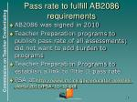 pass rate to fulfill ab2086 requirements