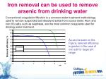 iron removal can be used to remove arsenic from drinking water