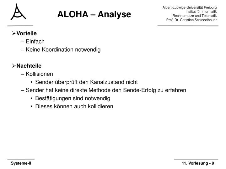 ALOHA – Analyse