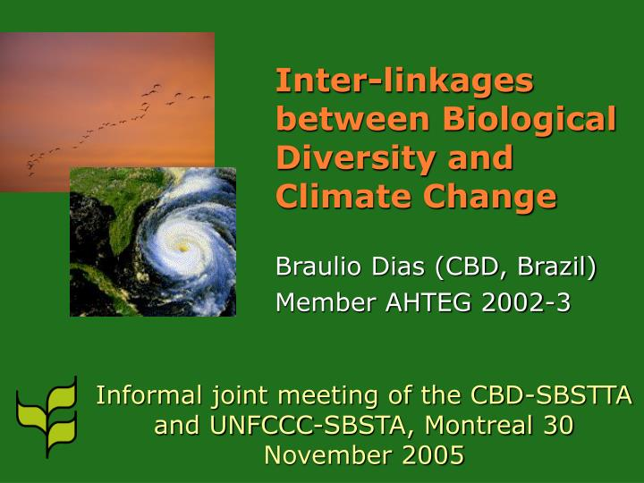 inter linkages between biological diversity and climate change n.