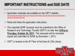 important instructions and due date