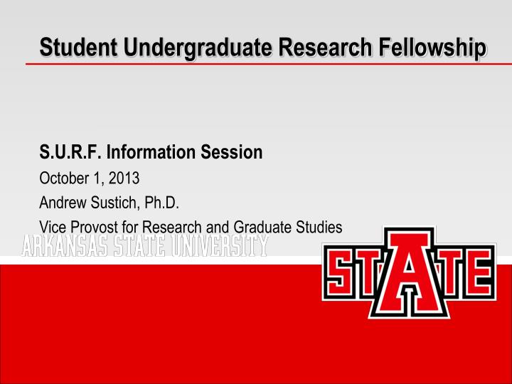 student undergraduate research fellowship n.