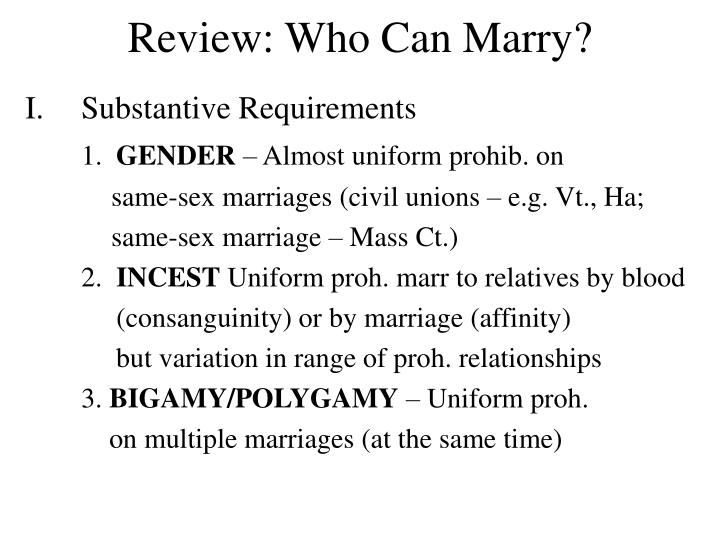 review who can marry n.
