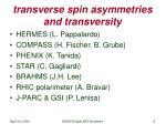 transverse spin asymmetries and transversity