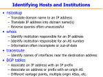 identifying hosts and institutions