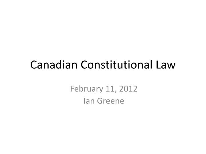 canadian constitutional law n.