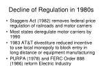 decline of regulation in 1980s