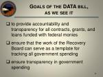 goals of the data bill as we see it