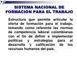 sistema nacional de formaci n para el trabajo