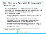 tbl the new approach to community development