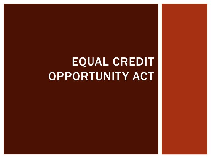 equal credit opportunity act n.