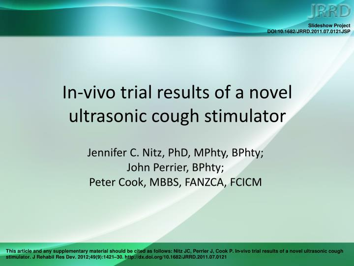 in vivo trial results of a novel ultrasonic cough stimulator n.