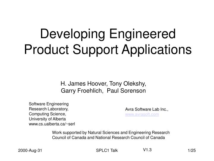 developing engineered product support applications n.