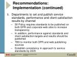 recommendations implementation continued