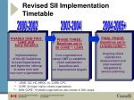 revised sii implementation timetable