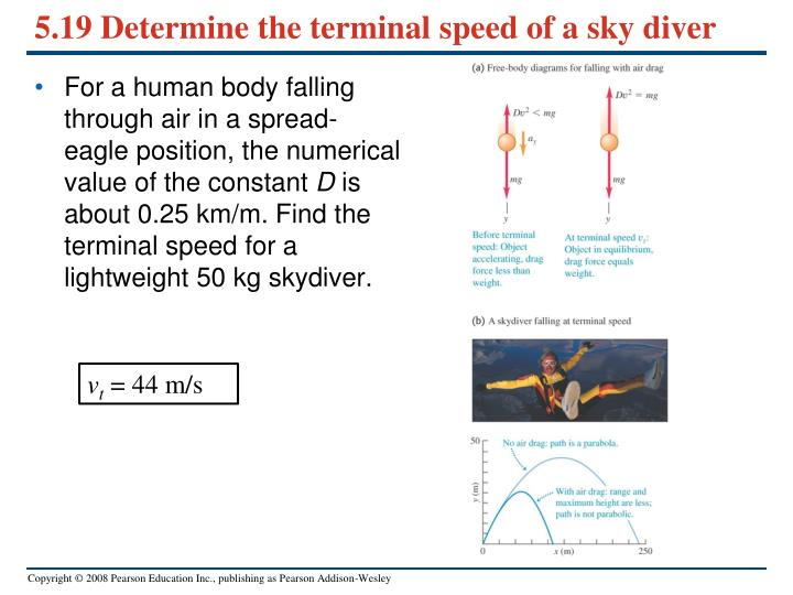 5.19 Determine the terminal speed of a sky diver
