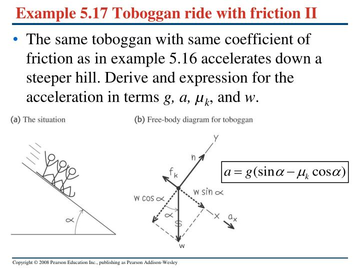 Example 5.17 Toboggan ride with friction II