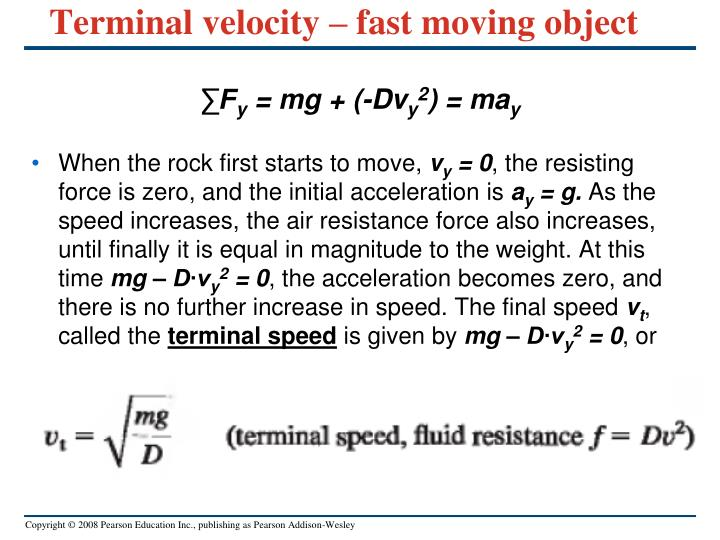 Terminal velocity – fast moving object