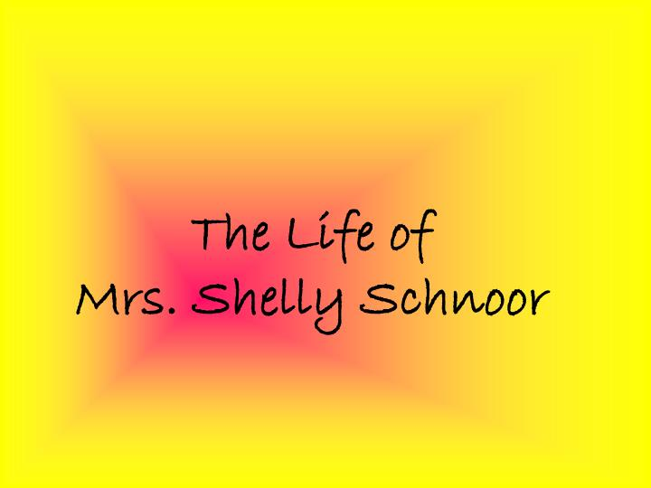 the life of mrs shelly schnoor n.