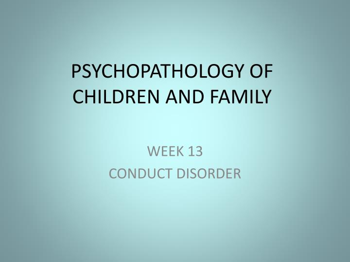 psychopathology of children and family n.