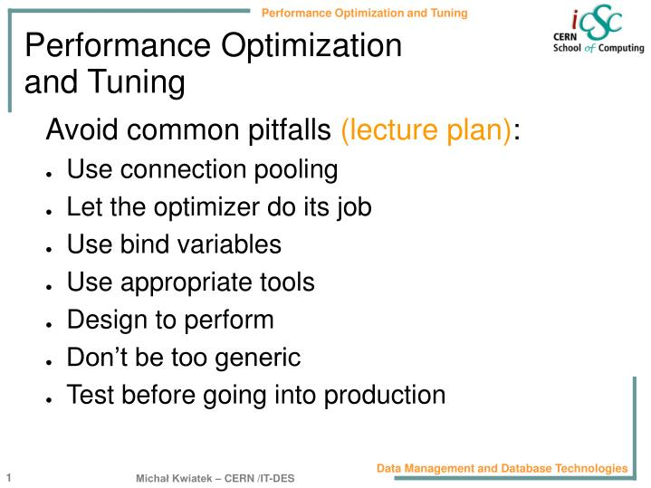 performance optimization and tuning n.