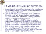 fy 2008 gov s action summary