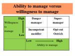 ability to manage versus willingness to manage