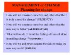 management of change planning for change