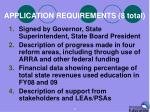 application requirements 8 total