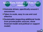 applications evaluated on three major aspects