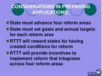 considerations in preparing applications