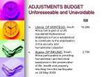 adjustments budget unforeseeable and unavoidable3