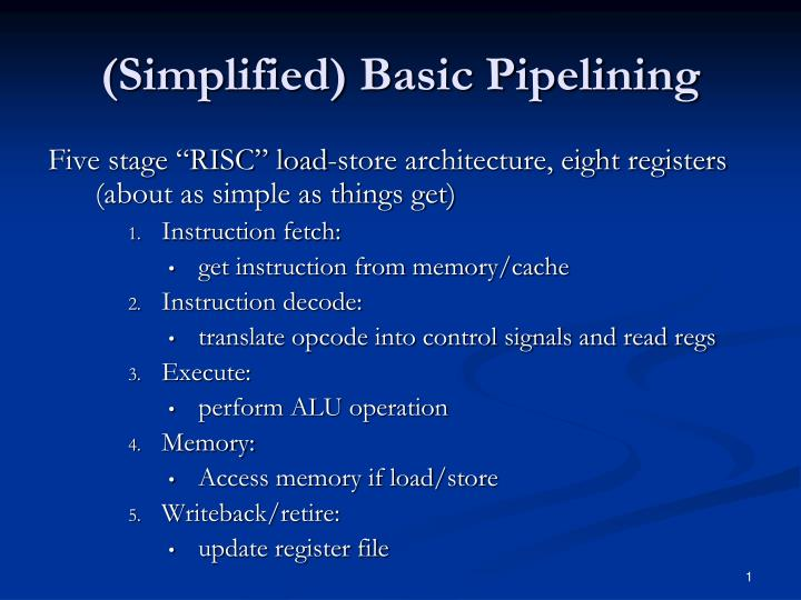 simplified basic pipelining n.