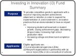 investing in innovation i3 fund summary