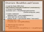 overview resultsets and cursors
