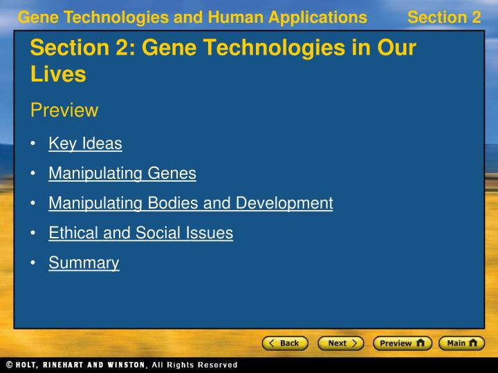 section 2 gene technologies in our lives n.