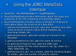 using the jdbc metadata interface