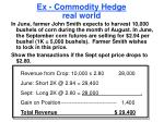 ex commodity hedge real world