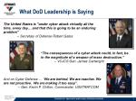 what dod leadership is saying