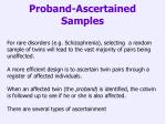 proband ascertained samples