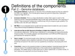 definitions of the components part 2 genome databases