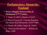 parliamentary monarchy england