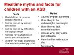 mealtime myths and facts for children with an asd