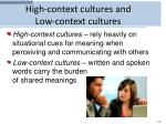 high context cultures and low context cultures